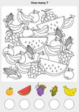 Count and painting color the fruits. Stock Images