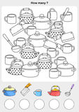 Count and painting color the objects. Count and painting color the objects - write the number in the circle stock illustration