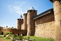 Count`s castle with hoarding, Carcassonne, France. Count`s castle with hoarding at medieval Carcassonne fortification, France stock photo