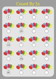 Count by 5s practice worksheet, write the missing numbers, Vector Illustration