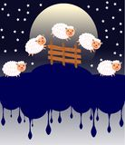 Count of the sheep at night with moon and stars vector illustration