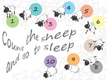 Count the sheep and go to sleep. Illustration of count the sheep and go to sleep. Wish sleep well. --- This .eps file info Version: Illustrator 8 EPS Document royalty free illustration