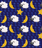 Count the Sheep and Moon Seamless Background royalty free stock photography