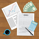 Count taxes for year. Statistic fund and calculate tax. Vector illustration Stock Image
