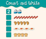 Count and write with different types of food royalty free illustration