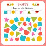 Count and write the number. Learn shapes and geometric figures. Preschool or kindergarten worksheet. Vector illustration vector illustration