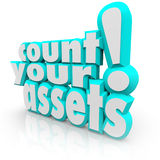 Count Your Assets 3d Words Tracking Wealth Value Money Stock Photos