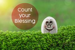 Count your blessing. The text count your blessing with gratitude with stone smile happy face on green moss and sunshine light background stock image