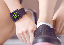 Count your bpm with the smartwatch application. Smartwatch can make life easier, and potentially healthier in the future Royalty Free Stock Image