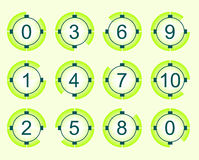 Countdown. On the bright green background with place for your text Stock Images