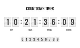 Countdown clock. Counter timer clocks counts day digital down watch numeric minute coming score hour display web page. Vector template vector illustration