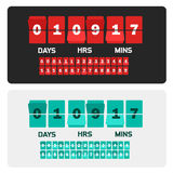 Countdown clock digits board New year and Christmas sale timer. Number counter template banner, all digits with flips. Included stock illustration