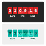 Countdown clock digits board New year and Christmas sale timer. Number counter template banner, all digits with flips included vector illustration