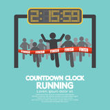 Countdown Clock At Finish Line. Vector Illustration Stock Photos