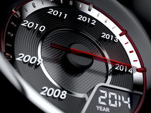 Countdown concept. 3d illustration of 2014 year car speedometer. Countdown concept stock illustration