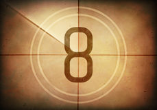 Countdown Eight. Countdown on the old movie screen. High resolution image with detailed quality Stock Photos