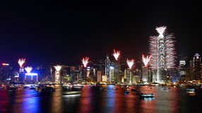 Countdown Fireworks Show in Hong Kong Royalty Free Stock Image