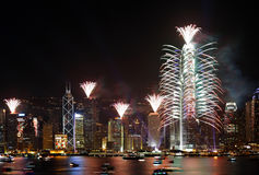 Countdown Fireworks Show in Hong Kong Royalty Free Stock Photography