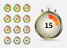 Countdown. Golden digital timers countdown. Realistic chronometer with different times, vector illustration  on white background. Time management symbol Royalty Free Stock Photo