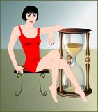 Countdown hourglass. Woman and hourglass, symbol for time running royalty free illustration
