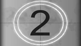Countdown Leader Graphic 5 - 0. Universal Countdown Leader Graphic from 5 to 0. Old film leader vintage countdown with rolling effect stock video