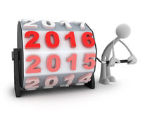 2016 countdown and men. Abstract new year (done in 3d, white background Stock Photos
