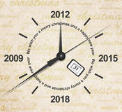Countdown of new year. Illustration of a clock with years passing Stock Images