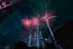 Countdown new year 2018 KLCC Kuala Lumpur fireworks Royalty Free Stock Photography
