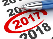 2017 countdown. New year sign 2017 and pen (done in 3d rendering, white background Royalty Free Stock Image