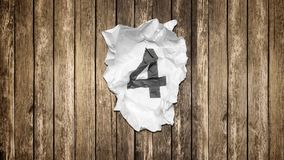 Countdown numbers on crumpled paper stock video