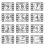 Countdown. Old film strip countdown from 9 to 0 Royalty Free Stock Images