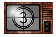Countdown on the Retro TV screen. Aerial analog antenna antique broadcast broadcasting case royalty free stock photos
