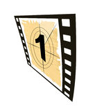 Countdown set. Film strip with a countdown set isolated on a white background.Number 1 Stock Photo