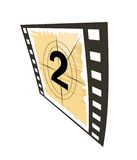 Countdown set. Film strip with a countdown set isolated on a white background.Number 2 Stock Image