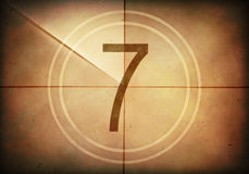 Countdown Seven. Countdown on the old movie screen. High resolution image with detailed quality royalty free illustration
