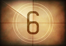 Countdown Six. Countdown on the old movie screen. High resolution image with detailed quality Royalty Free Stock Image