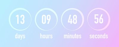 Countdown template ui web design,  illustration. Blurred g. Radient colors background, days, hours, minutes and seconds timer Royalty Free Stock Photo