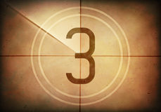 Countdown Three. Countdown on the old movie screen. High resolution image with detailed quality Royalty Free Stock Photo