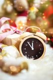 Countdown till X-mas. Christmas and new year celebration countdown, gifts and toys, bokeh glitter Stock Images