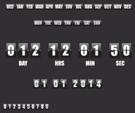 Countdown Timer and Date on black background Stock Images