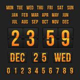 Countdown timer and date, calendar scoreboard Stock Photos