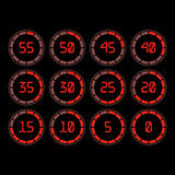 Countdown timer with five minutes interval in modern style. Digital countdown timer with five minutes interval in modern style. Set of 12 timer icons. Vector Royalty Free Stock Images