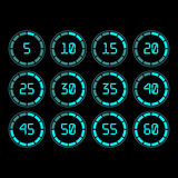 Countdown timer with five minutes interval in modern style. Digital countdown timer with five minutes interval in modern style. Set of 12 timer icons. Vector Stock Images