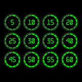 Countdown timer with five minutes interval in modern style. Digital countdown timer with five minutes interval in modern style. Set of 12 timer icons. Vector Stock Photos
