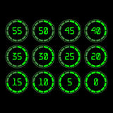 Countdown timer with five minutes interval in modern style. Digital countdown timer with five minutes interval in modern style. Set of 12 timer icons. Vector Royalty Free Stock Photo