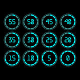 Countdown timer with five minutes interval in modern style. Digital countdown timer with five minutes interval in modern style. Set of 12 timer icons. Vector Stock Photography