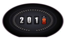 Countdown timer - New Year 2018. Countdown timer looks like speedometer - New Year 2018 - on white background Royalty Free Stock Photos