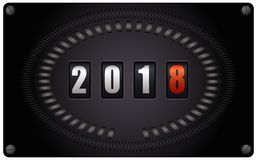 Countdown timer - New Year 2018. Countdown timer looks like speedometer - New Year 2018 - on white background Royalty Free Stock Image