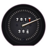 Countdown timer on speedometer - New Year 2017. On white background Stock Photos