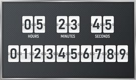 Countdown timer. Time remaining count down flip board with scoreboard of day, hour, minutes and seconds for web page upcoming even Royalty Free Stock Images